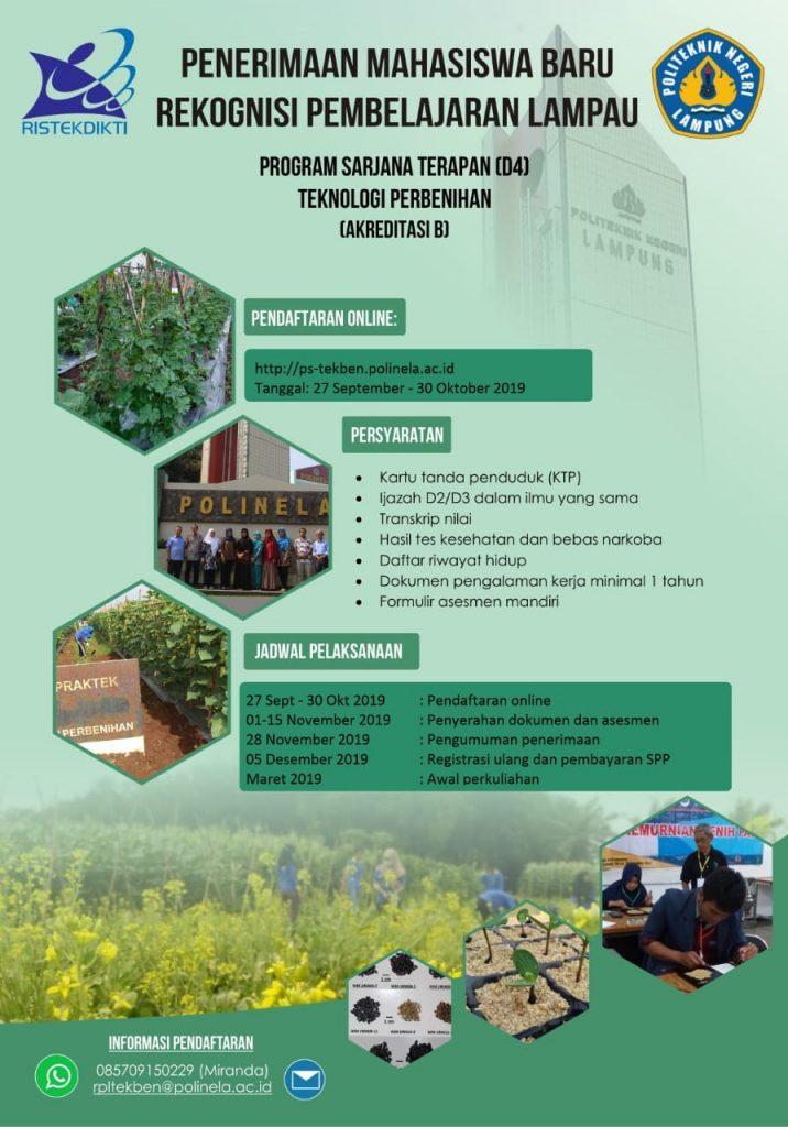 Penerimaan Mahasiswa Baru Rekognisi Pembelajaran Lampau Program Studi D4 Teknologi Perbenihan Politeknik Negeri Lampung