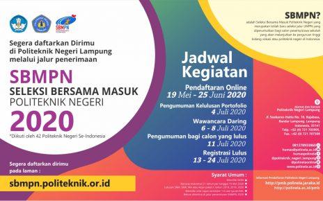 Seleksi Bersama Masuk Politeknik Negeri (SBMPN) 2020 Politeknik Negeri Lampung