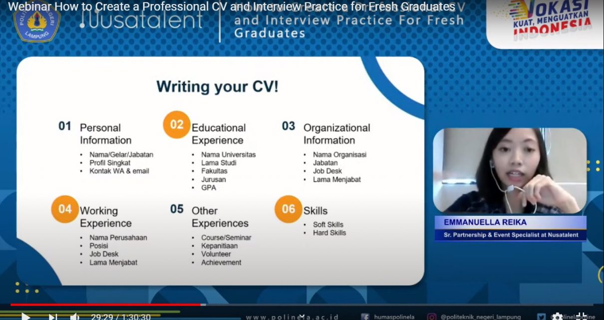 Webinar: How to Create a Professional CV and Interview Practice for Fresh Graduates